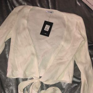 White Wrap crop Sweater / Size: L